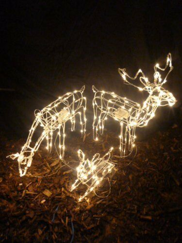 Large reindeer family led lights indoor outdoor rope for Animated lighted reindeer christmas decoration