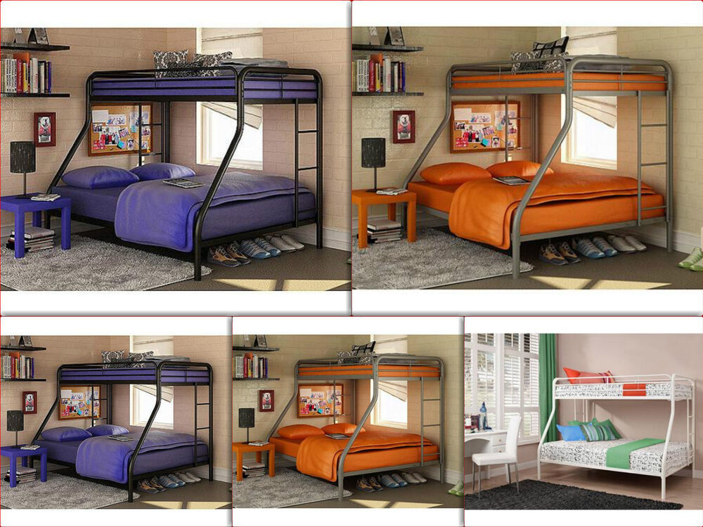 Space Saver Bunk Beds Twin Over Full Metal Kids Teen Dorm