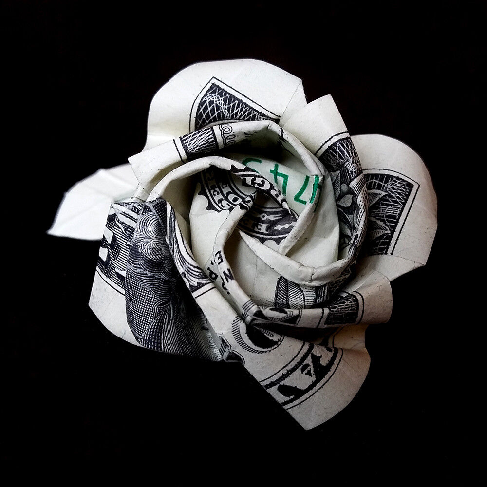 1 dollar bill federal reserve note origami rose flower