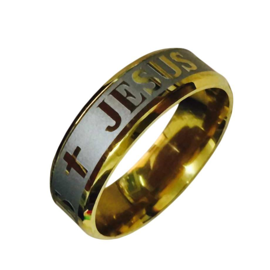 Jesus Cross Ring Mens Women Religious Church Wedding Band 18k Gold Silver Plated