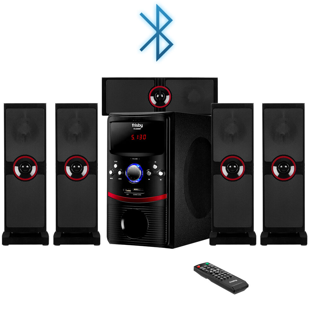 frisby fs 5090bt surround sound system 5 1 ch w bluetooth sd usb aux for tv pc ebay. Black Bedroom Furniture Sets. Home Design Ideas