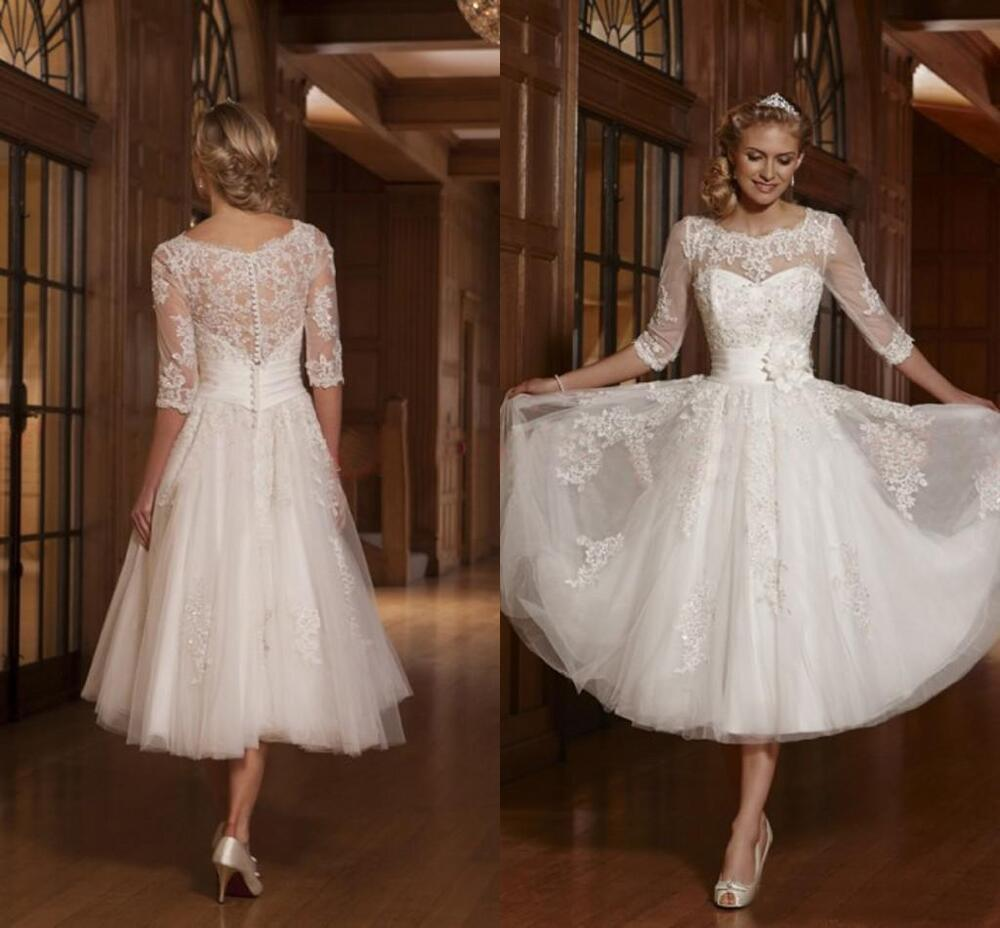 Tulle 3 4 sleeve applique bridal gown tea length wedding for 3 4 sleeve wedding guest dress