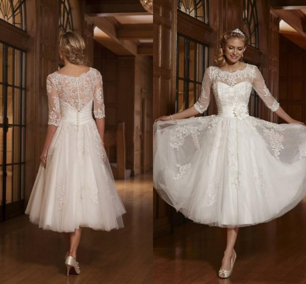 Vintage Lace Tea Length Beach Wedding Dress Short Sleeves: Tulle 3/4 Sleeve Applique Bridal Gown Tea Length Wedding