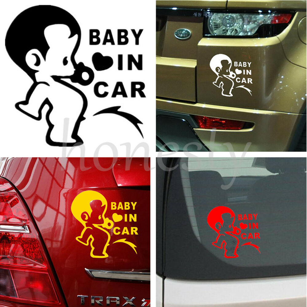 Jdm child boys baby in car on board car decal window Getting stickers off glass