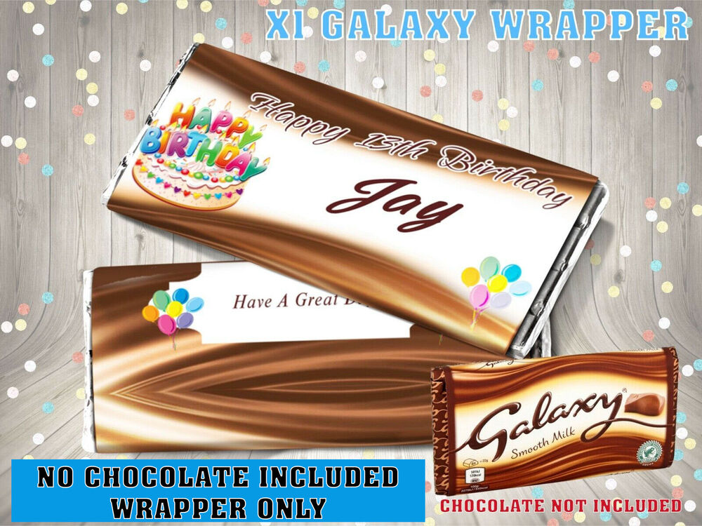 PERSONALISED Birthday Cake CHOCOLATE BAR WRAPPER Fits Galaxy 114g Gift