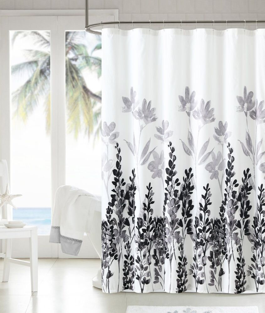 Mirage Black Gray White Floral Flowers Fabric Bathroom Shower Curtain EBay