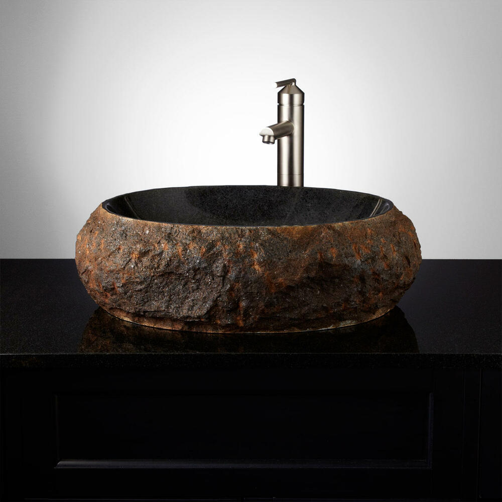 stone bowl sinks bathroom signature hardware ridge vessel sink ebay 20687