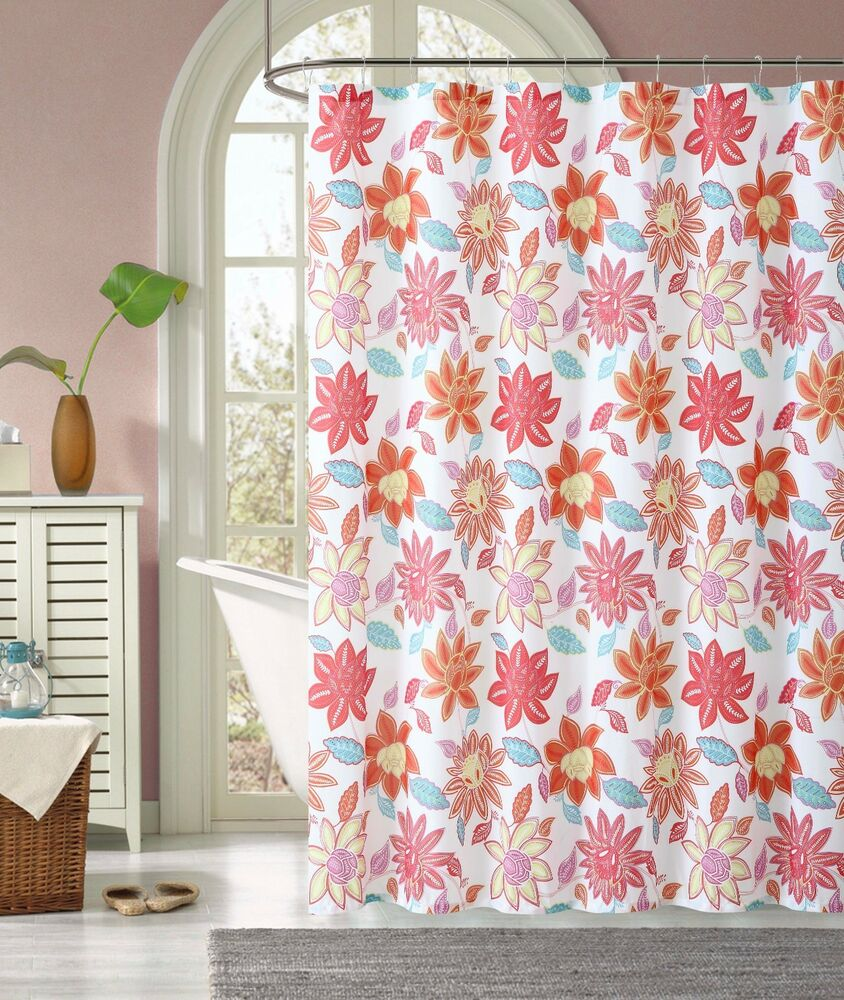 Sardinia Pink Coral Orange Floral Flower Fabric Cloth Bathroom Shower Curtain