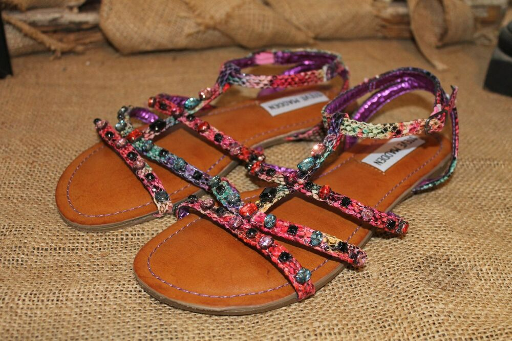 d7479f497fc201 Details about NEW Steve Madden Girls Snakeskin Multi Color Jeweled Flat  Strappy Sandals Sz 4
