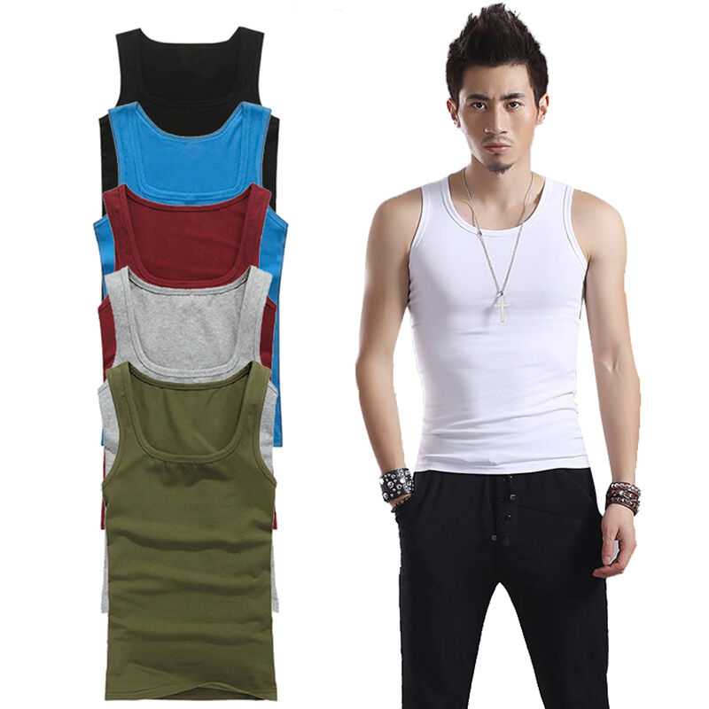 New Men 39 S Plain Tank Top Muscle Wife Beater Sleeveless Tee