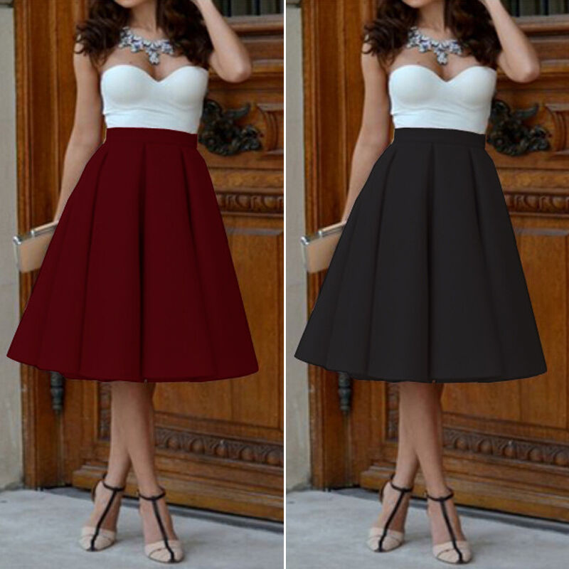 Ladies Stretch High Waist Skater Flared Pleated Swing Long Skirt ...