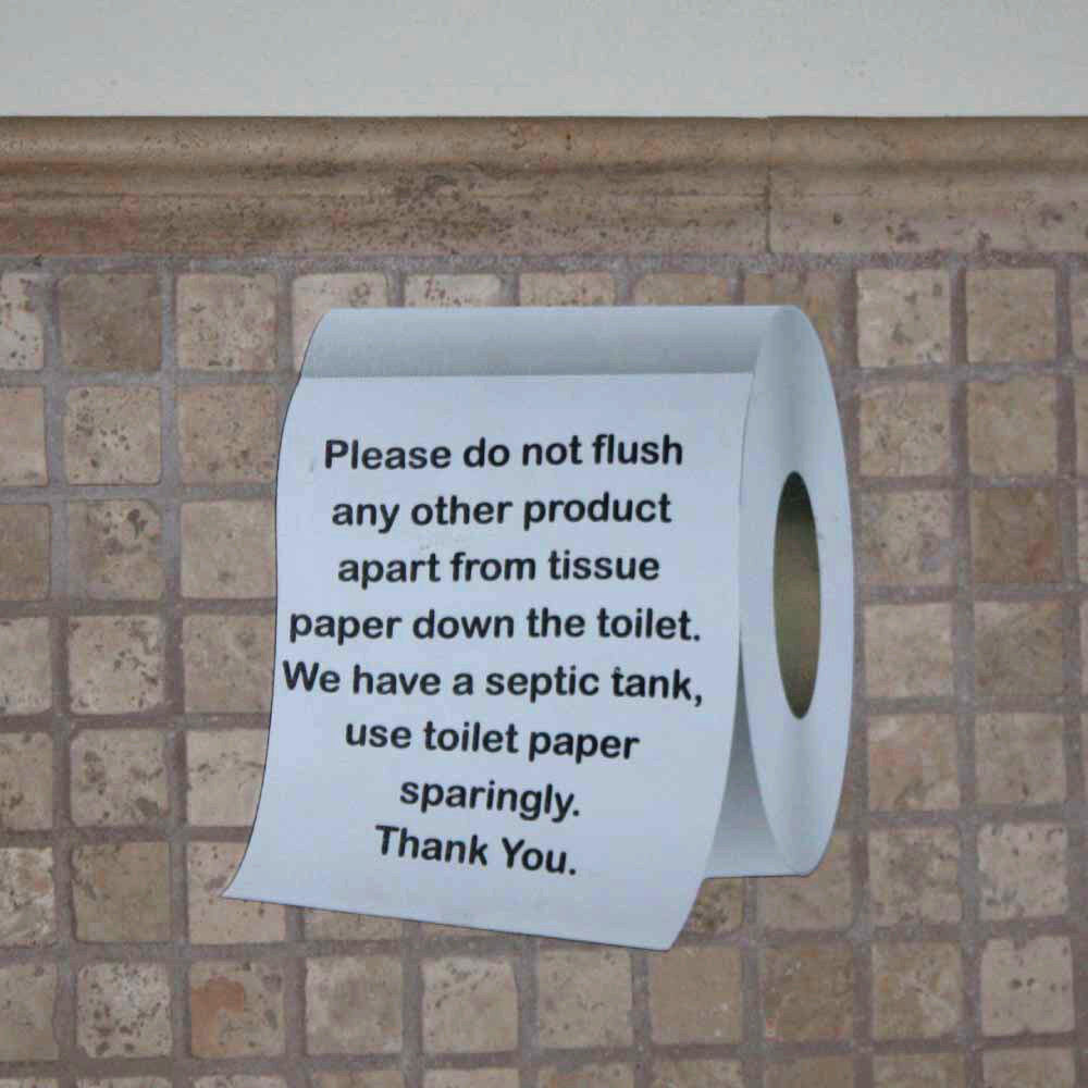 Septic tank sign toilet roll shaped sign loo plaque for 1 bathroom septic system