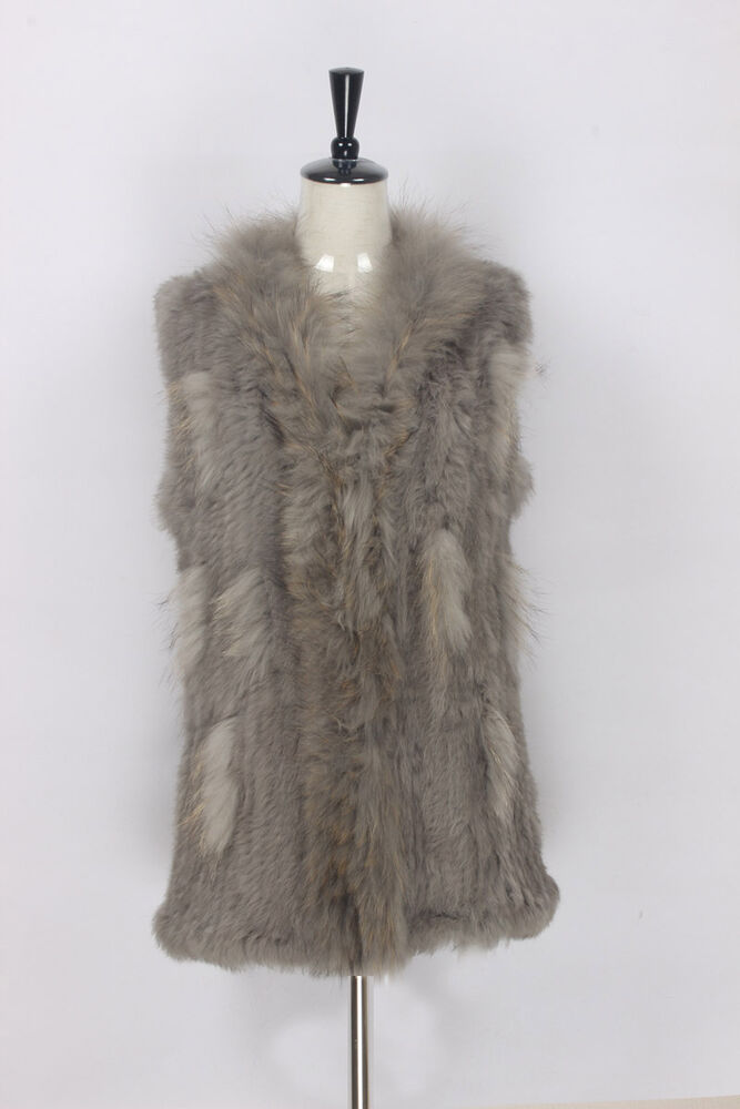 d5c1dc35585 Details about 100% Real Knitted Rabbit Fur Vest Waistcoat Whit Raccoon Fur  Collar Gilet Jacket