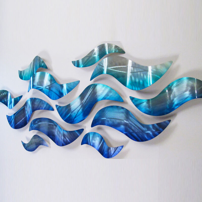 Large metal wall sculpture modern abstract art blue wave for Modern artwork for home