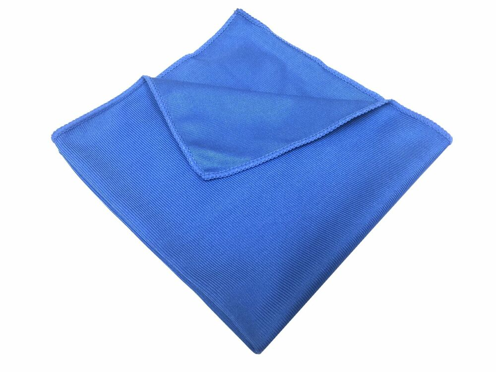 24 microfiber glass cloths blue 16 x16 cleaning detailing for Glass cleaning towels