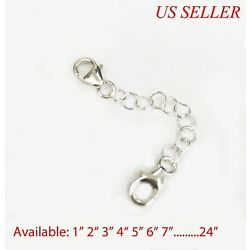 Kyпить 925 Solid Sterling Silver Round Link Extender Safety Chain Necklace Bracelet   на еВаy.соm