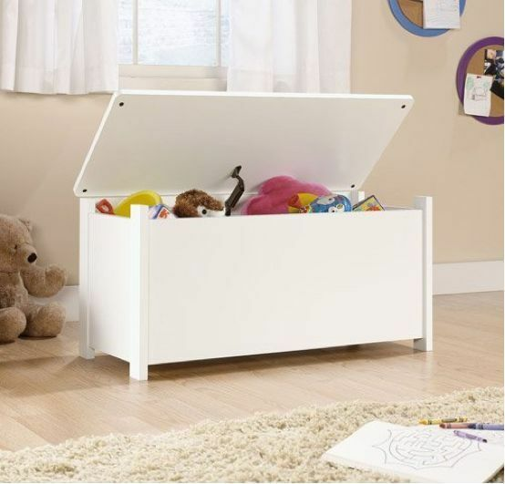 Kids Bedroom Furniture Kids Wooden Toys Online: Soft White Kids Toy Chest Wood Box Bin Storage Organizer