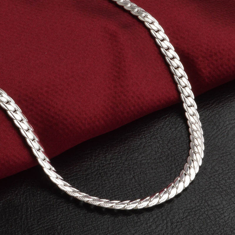 5mm 20inches 925 Silver Stamped Chain Necklace Men/ Women ...