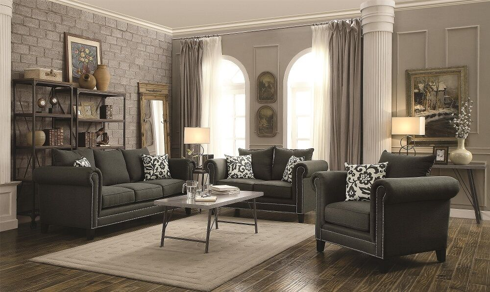 Transitional gray fabric 3p sofa set sofa loveseat chair for Living room sets under 1 000