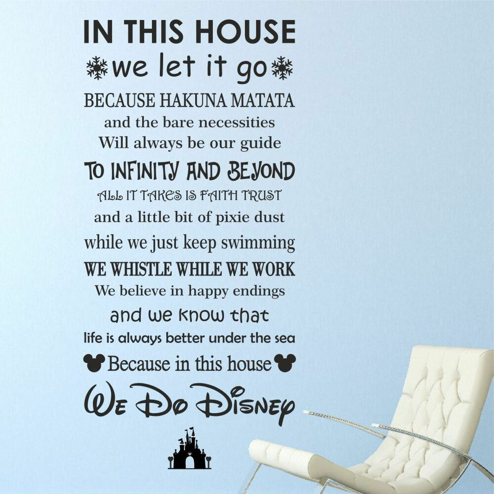 Disney quotes wall art ebay we do disney house rules vinyl wall art sticker quote kids family wqb37 amipublicfo Choice Image