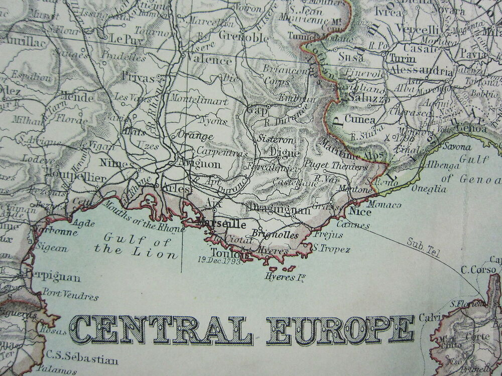1910 MAP CENTRAL EUROPE FRANCE AUSTRIA HUNGARY GERMANY ITALY