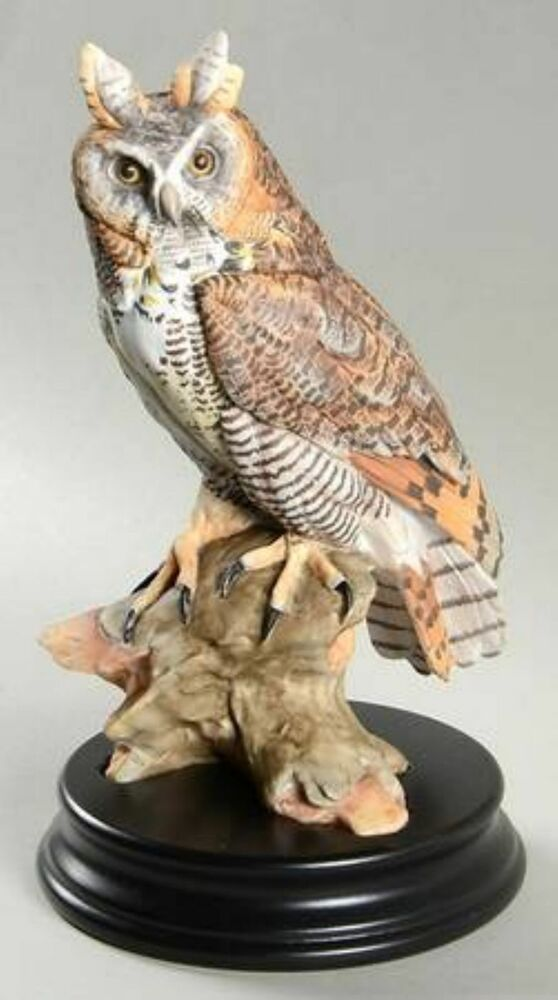 Kaiser Porcelain Long Eared Owl With Base Colored