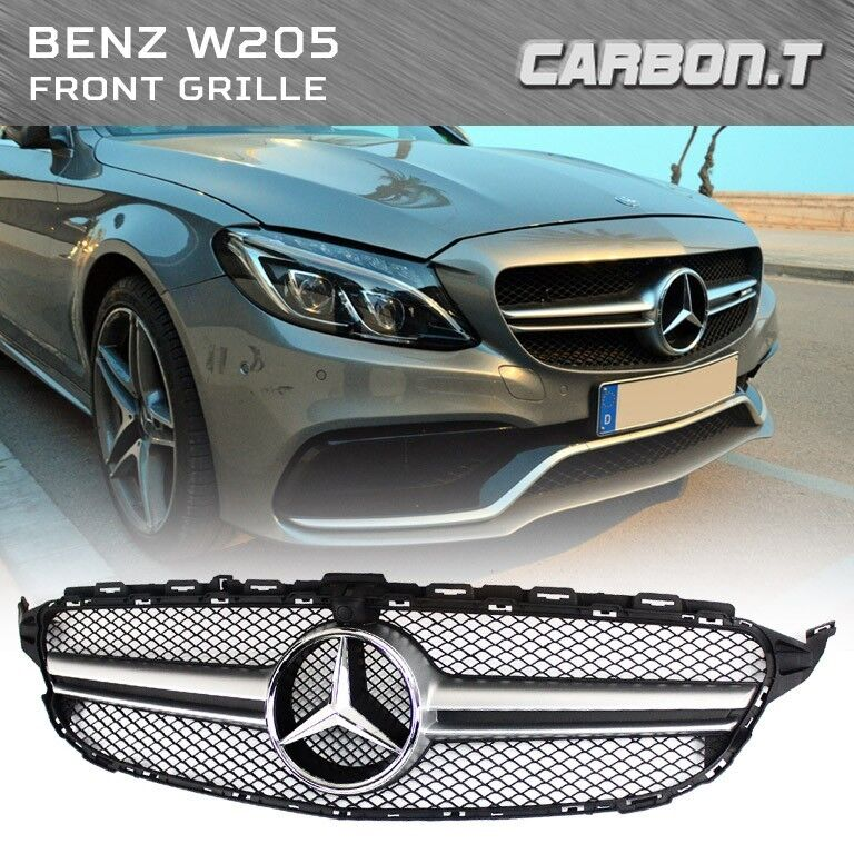For mercedes benz c class w205 c63amg style silver front for Mercedes benz c300 grill