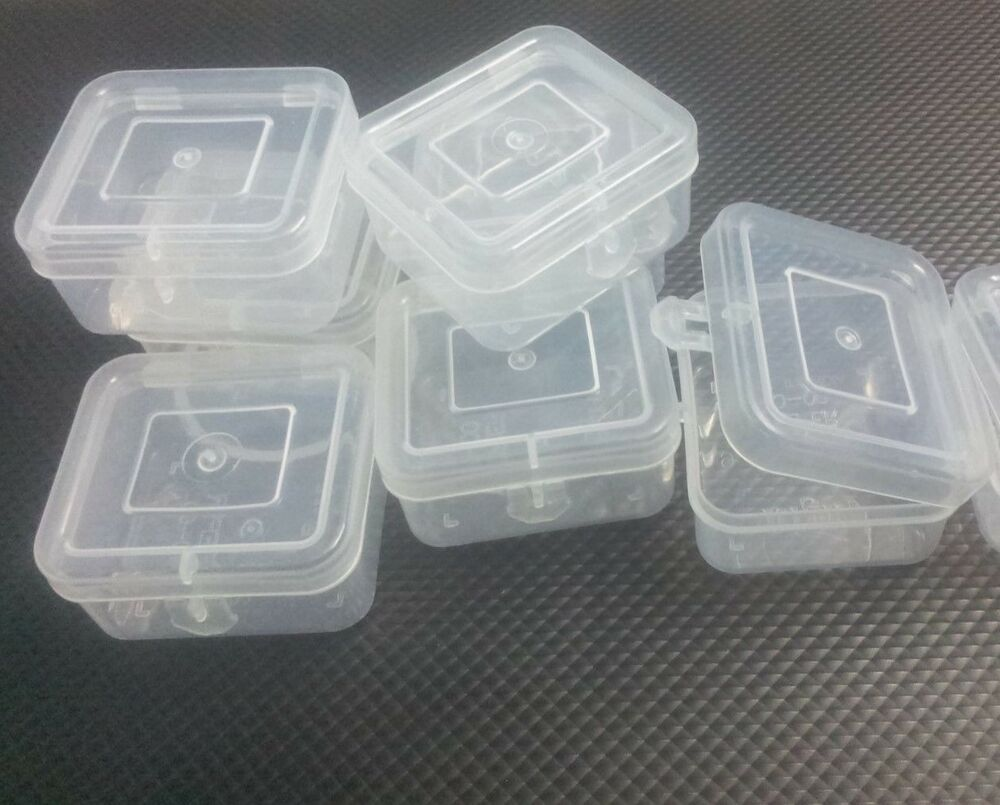 Clear Plastic White Boxes Container Beads Crafts Parts