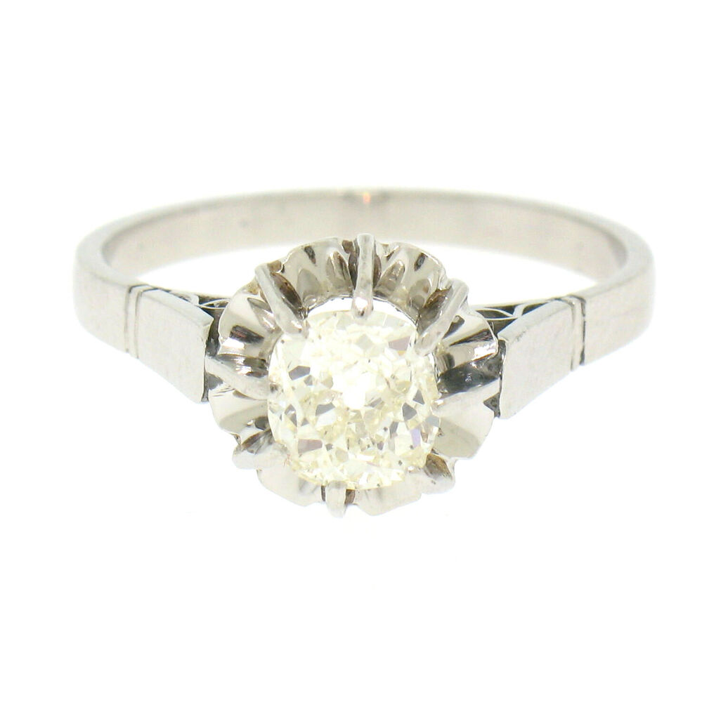 Antique Art Deco Platinum 0 78ct Old Mine Cut Diamond