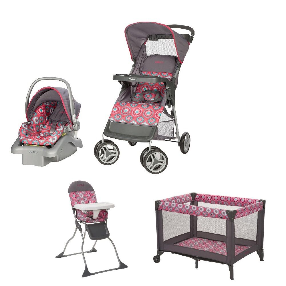 new cosco travel system stroller car seat play yard crib high chair pink nursery ebay. Black Bedroom Furniture Sets. Home Design Ideas