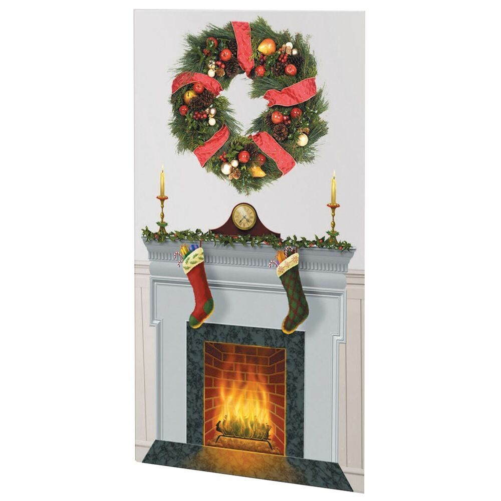 Christmas Wall Scene Decorations : Christmas fireplace large wall setter diy decoration