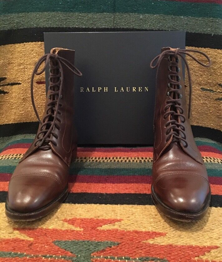 RALPH LAUREN Brown Leather Victorian Doughboy Boot Lace-Up ...
