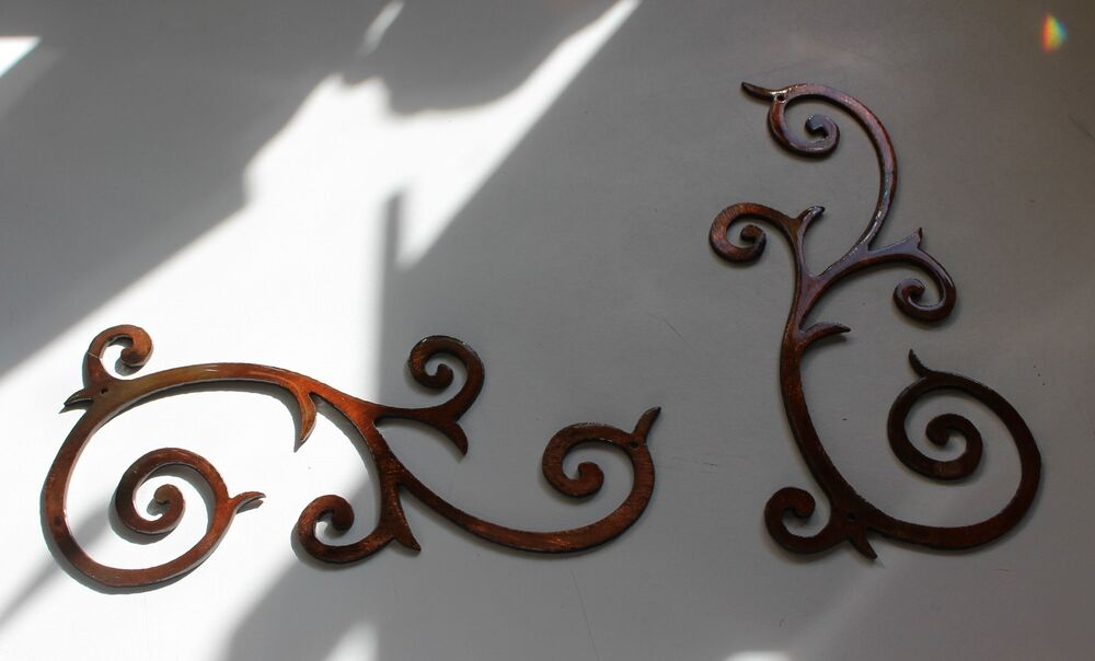 Metal wall art decor accents decorative scroll duo 13 5 x for Iron scroll wall art