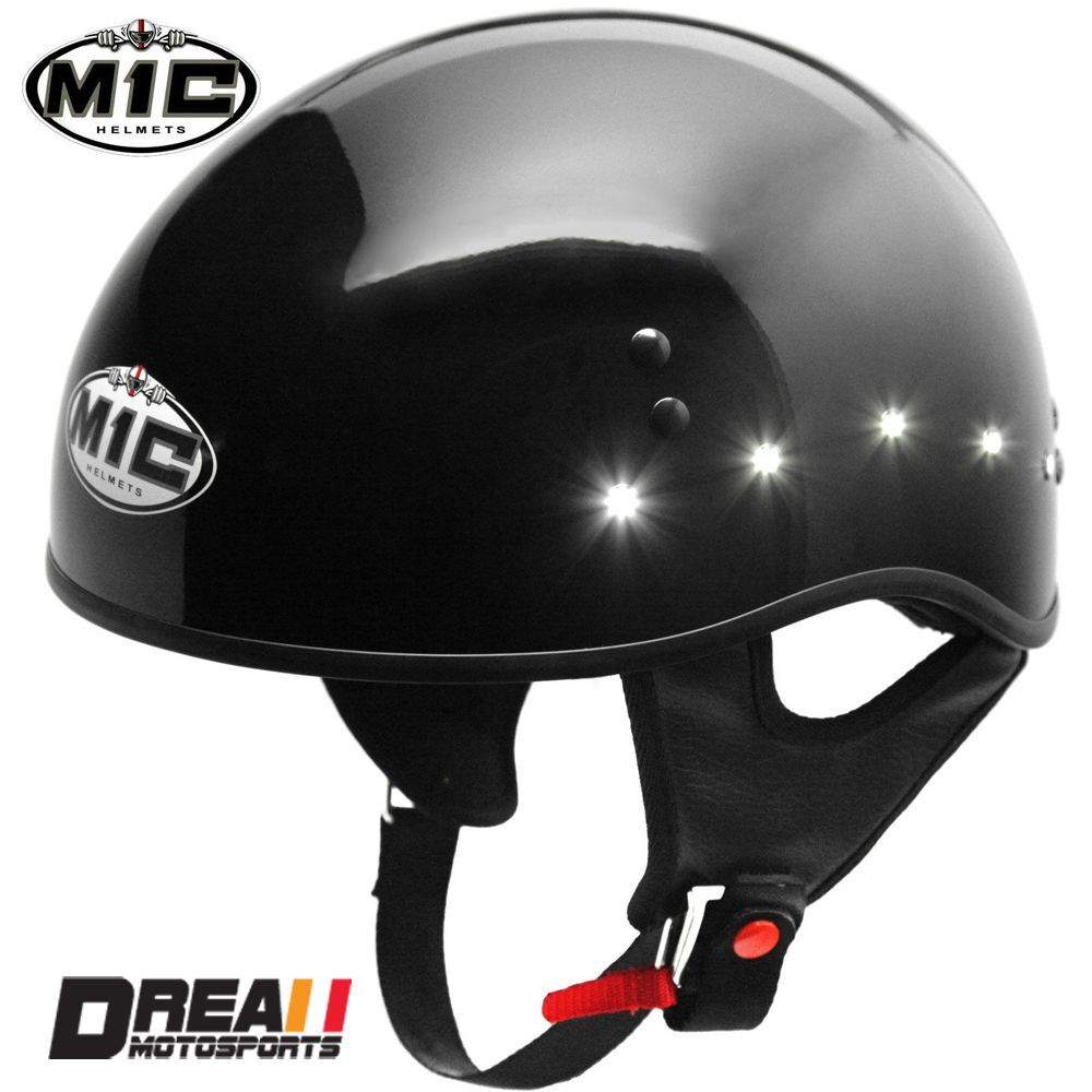 Motorcycle Helmets Dot >> TORC M1C LED LIGHTED GLOSSY BLACK MOTORCYCLE HELMET HARLEY DAVIDSON DOT XS-XL | eBay