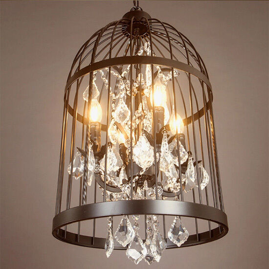 birdcage iron dining villa chandelier crystal pendant. Black Bedroom Furniture Sets. Home Design Ideas