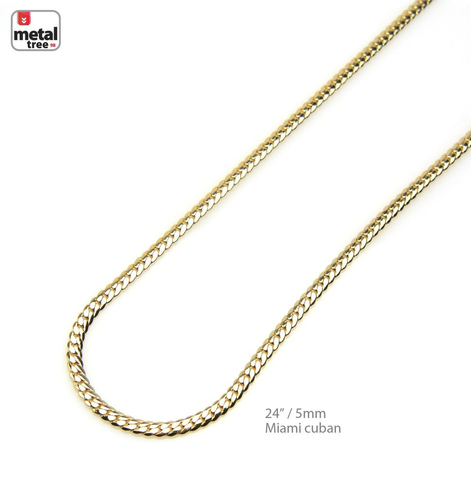 Solid 5mm 14k Yellow Gold Plated Miami Cuban Link Chain