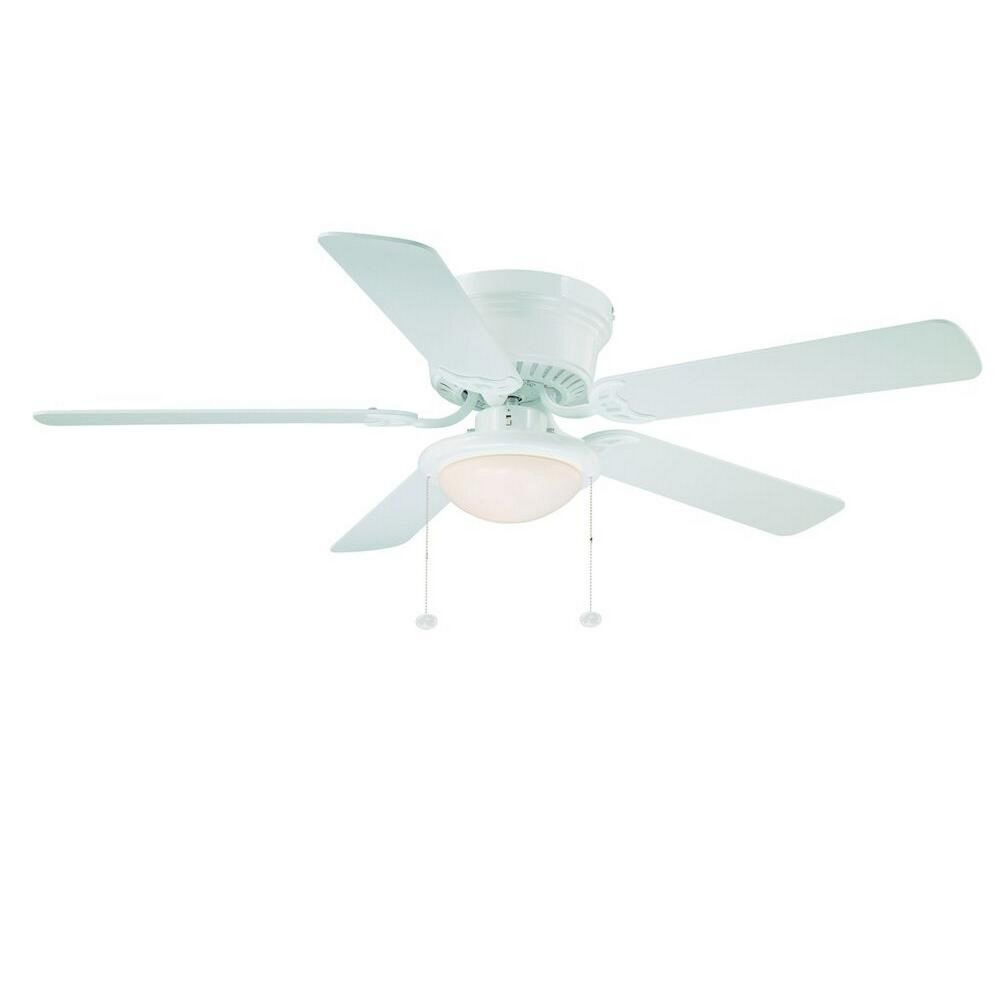 hugger 52 in white low profile flush mount ceiling fan with frosted. Black Bedroom Furniture Sets. Home Design Ideas