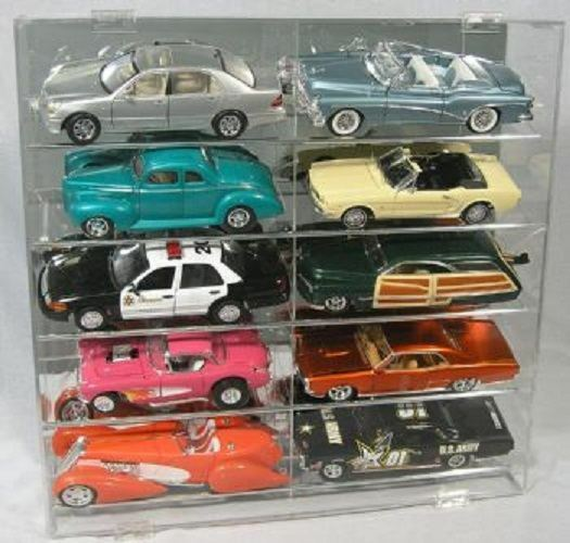Diecast Model Car Display Case 1:18 Holds 10 Angled New In