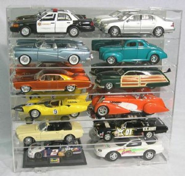 diecast model car display case 1 18 holds 12 new in box made in the usa ebay. Black Bedroom Furniture Sets. Home Design Ideas