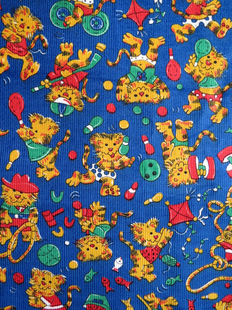 Fabric 2 yards corduroy childrens kids print lions sports for Kids corduroy fabric