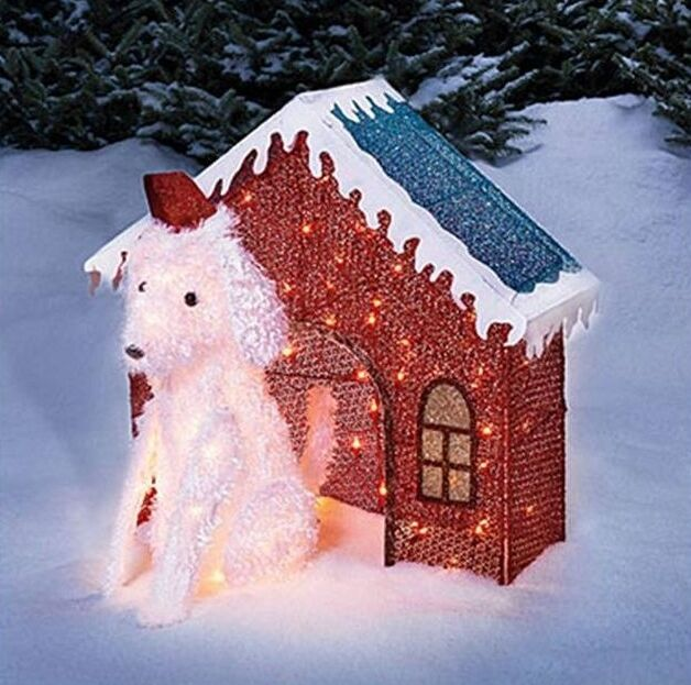 Reduced Christmas Decorations: Lighted Glitter Mesh Dog & Dog House Christmas Outdoor