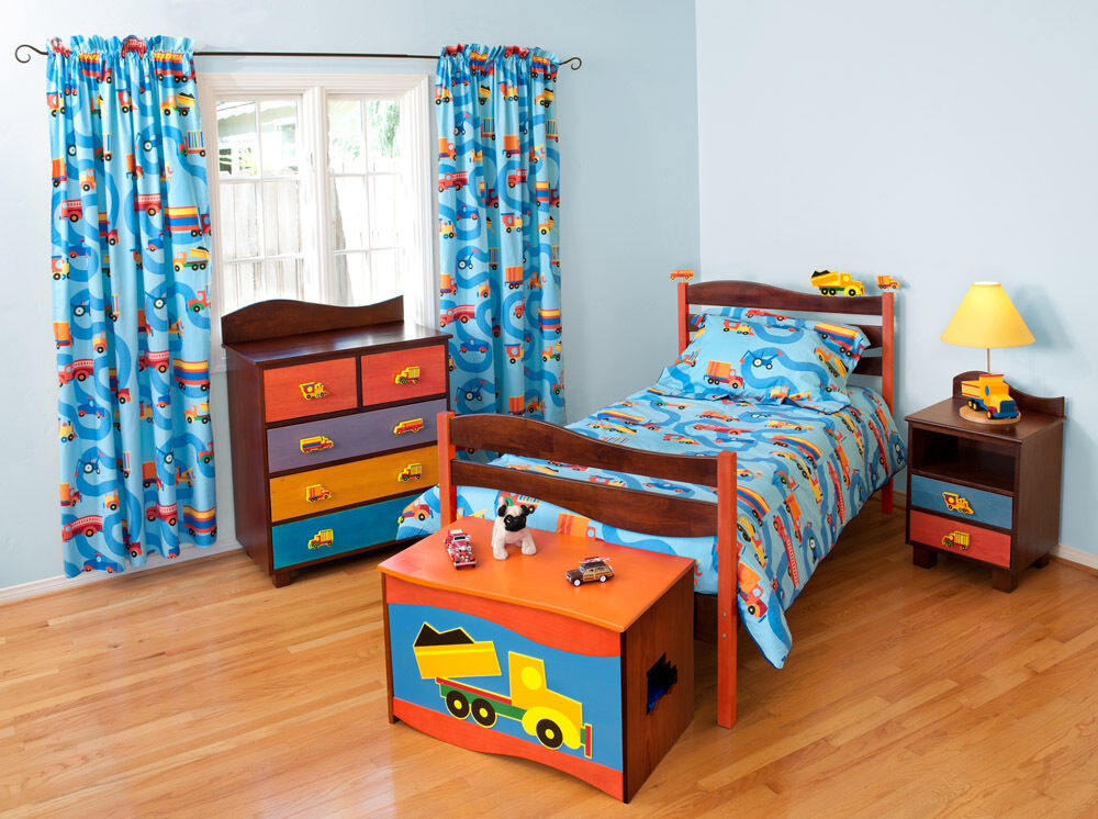 5 piece boys like trucks bedroom set chocolate finish ebay. Black Bedroom Furniture Sets. Home Design Ideas