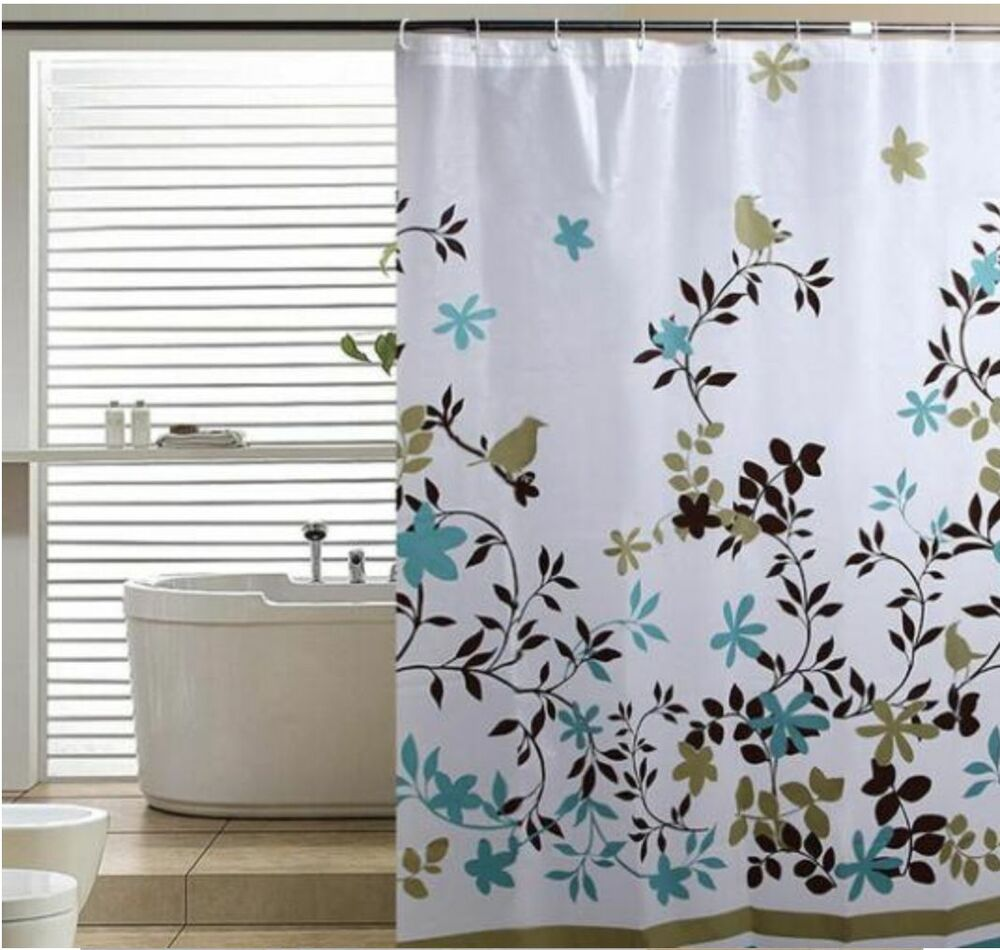 Floral Bird Modern Nature Classic Style Ring Hook Waterproof Shower Curtains Ebay