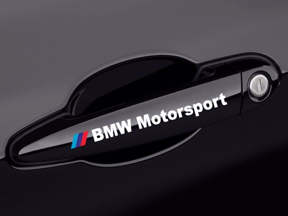 2x bmw motorsport turgriffe wei aufkleber sticker logo. Black Bedroom Furniture Sets. Home Design Ideas