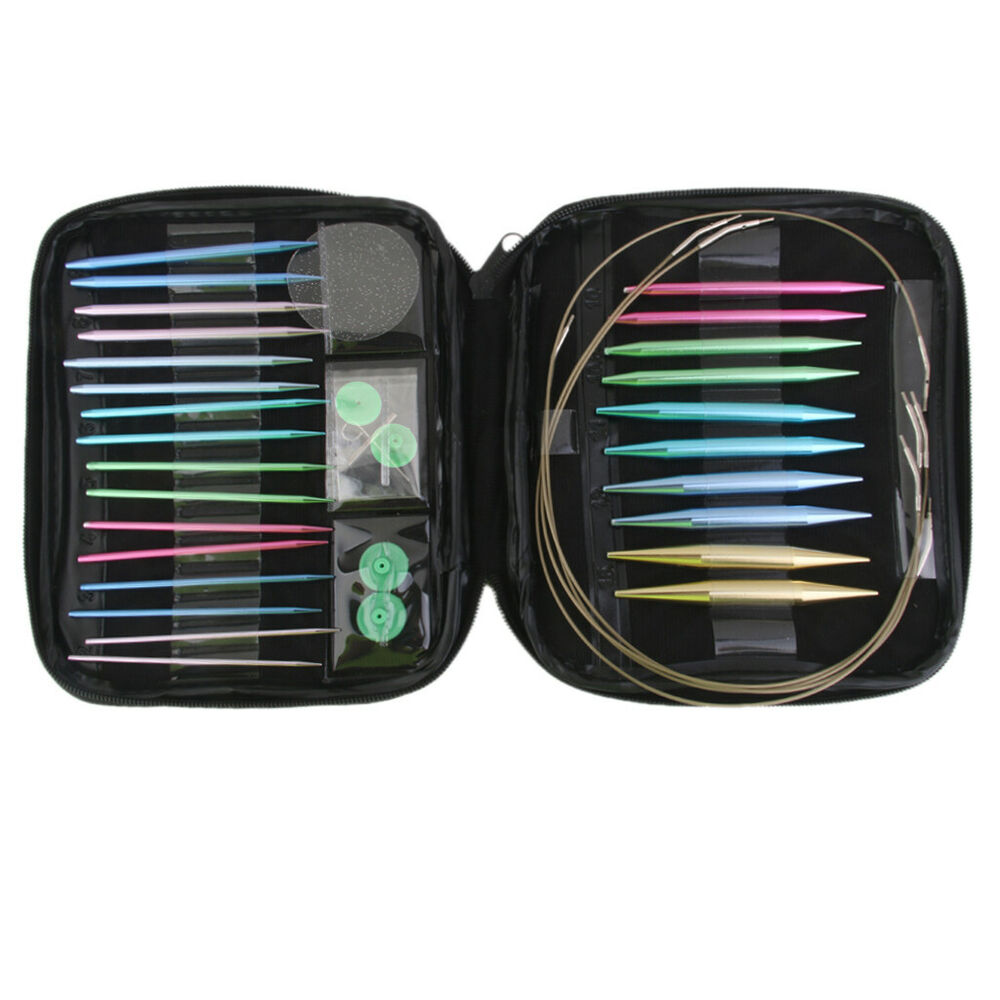 colorful interchangeable circular knitting needle tips set