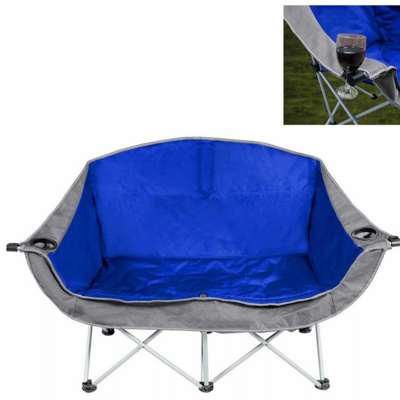 Double Folding Chair fortable Camping Love Seat 2 Person Beach Cup Bag Hol