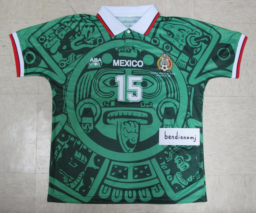 Javier Hernandez 98 World Cup Mexico Football Soccer Home Green Jersey Shirt   5d9618fbe0ab2