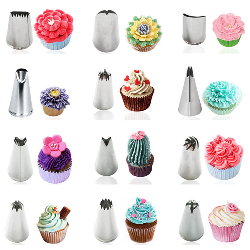 Cake Decorating Nozzle Tips : Stainless Steel Icing Piping Nozzles Cake Cupcake ...