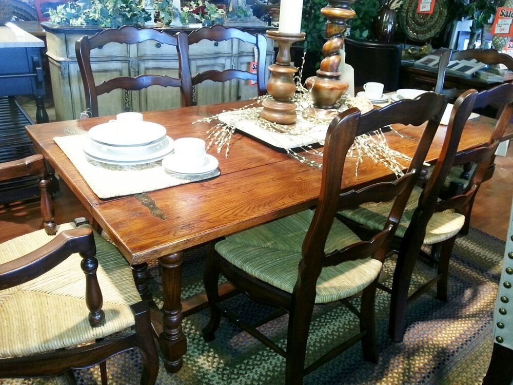 oak dining table set with bench and 4 ladder back side chairs flip top folding ebay. Black Bedroom Furniture Sets. Home Design Ideas