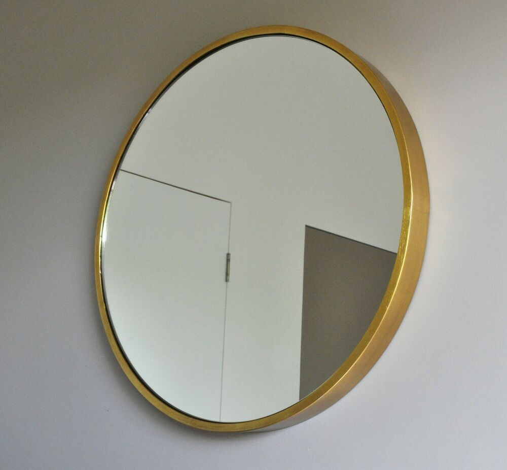 Bellissimo round wall mirror brass gold art deco modern for Circle mirror